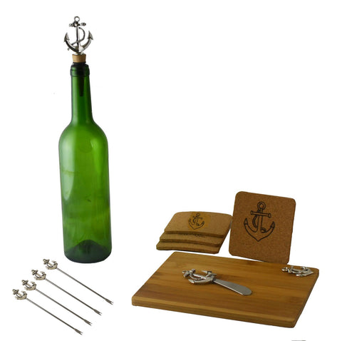 11pc Wine and Cheese Board Set w/ Anchors