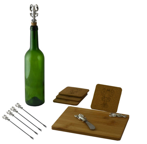 11-PC WINE & CHEESE SET, SILVER LOBSTER