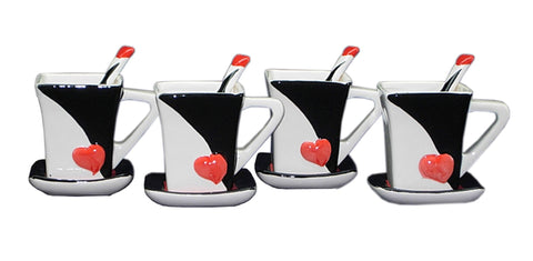 4-PC SET OF CUP & SAUCER