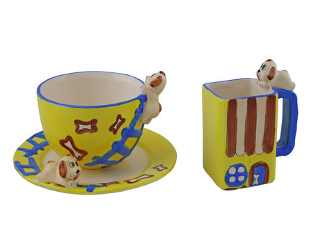 3-PC YLW MUGS & PLATE SET