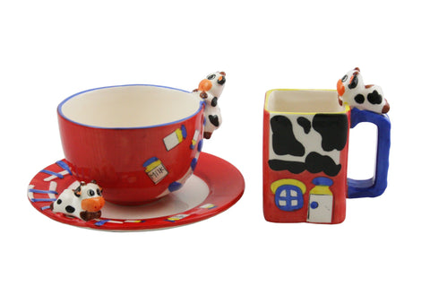 3-PC RED MUGS & PLATE SET
