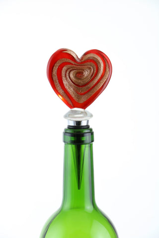 "5"" BOTTLE STOPPER, RED & GOLD HEART"