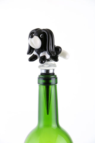 "5"" BOTTLE STOPPER, BLK & WHT DOG"