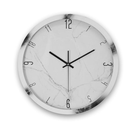 "16"" ROUND MARBLE FINISH WALL CLOCK"