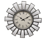 "23"" ROUND SILVER & MIRROR WALL CLOCK"