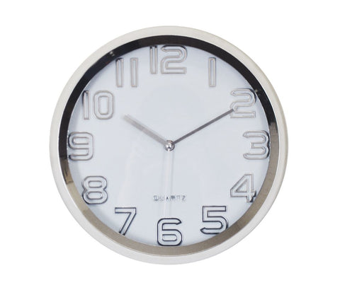 "12"" ROUND SILVER FINISH WALL CLOCK"