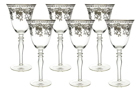 "6-PC SET OF 8"" WINE W/ SILVER DEC."