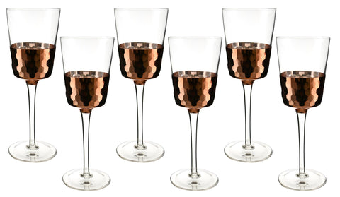 "6-PC SET OF 9"" WINE W/ COPPER FISH SCALE DESIGN"