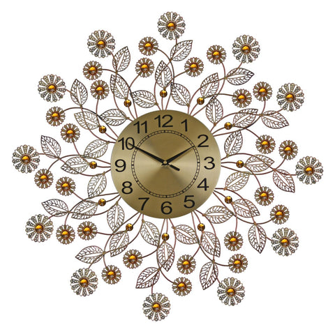 "27"" ROUND WALL CLOCK, GOLD FLWRS"