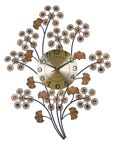 28X22 WALL CLOCK, COPPER FLWRS