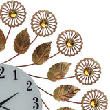 37X26 ROUND WALL CLOCK, COPPER FLWRS & PENDULUM