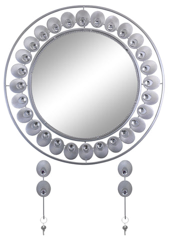 "24"" ROUND WALL MIRROR W/ KEY CHAIN HOLDERS, SILVER FEATHERS"