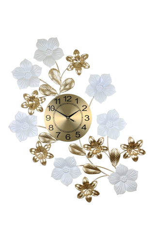34X26 GOLD & WHT WALL CLOCK W/ FLOWERS