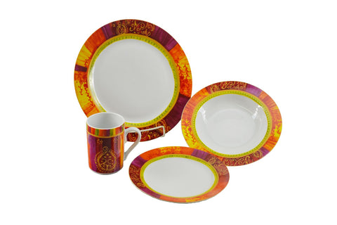 16-PC DINNER SET, MULTICOLOR..