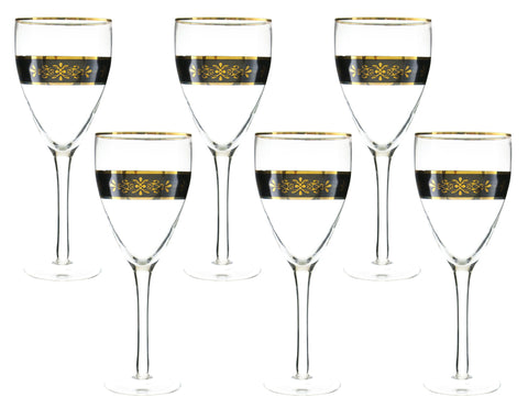 "6-PC SET OF 9"" WINE, BLK & GOLD"