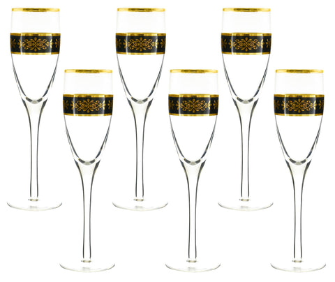 "6-PC SET OF 10"" FLUTE, BLK & GLD.."