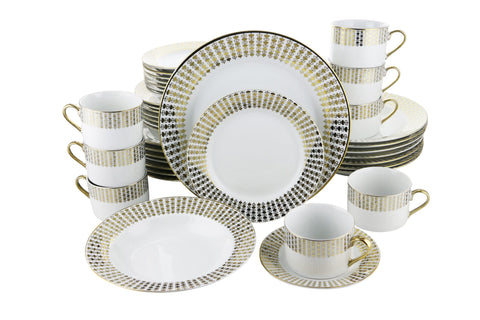 40-PC DINNERWARE SET, GOLD HEARTS