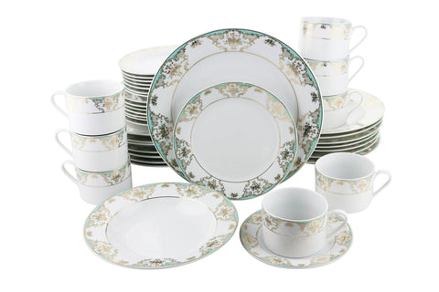 40-PC DINNERWARE SET, TEAL & GOLD