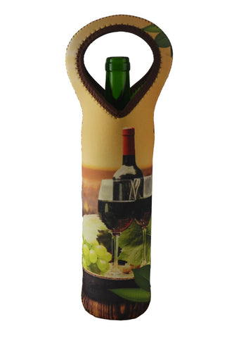 NEOPRENE BOTTLE HOLDER, BOTTLE W/ GLASSES & LEAVES