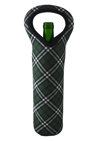 NEOPRENE BOTTLE HOLDER, GREEN PLAID PATTERN