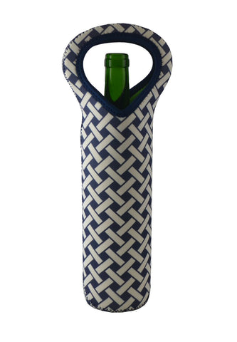 NEOPRENE BOTTLE HOLDER, BLUE & WHT CHECKERED PATTERN