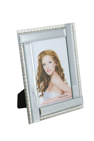 8X6 FRAME FOR 4X6 PHOTO, PEARL AND CRYSTAL LINES