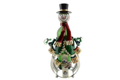 BOTTLE HOLDER, SNOWMAN  HO-HO-HO..