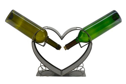 WINE BOTTLE HOLDER, 2 BOTTLES IN A HEART