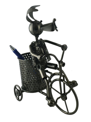 7.5X4X9.5 DOG ON TRICYCLE PEN HOLDER