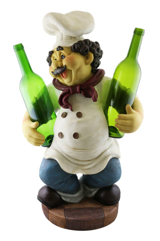 "23"" CHEF HOLDING 2 BOTTLES"