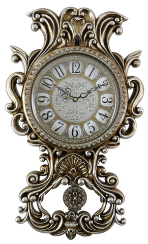 26X15 GOLD & SILVER WALL CLOCK