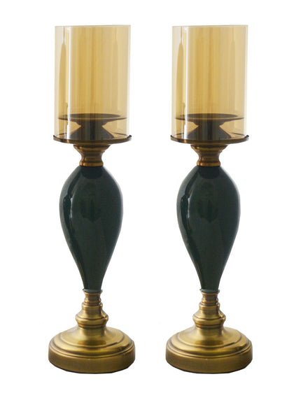 "PAIR OF 18"" CANDLE HOLDERS WITH GLASS"