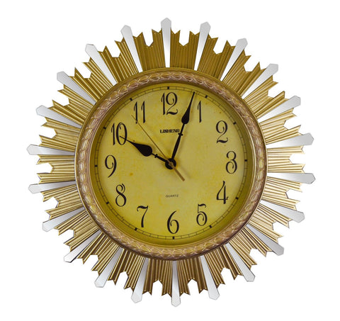 "18"" ROUND GOLD & MIRROR SUNBURST WALL CLOCK"