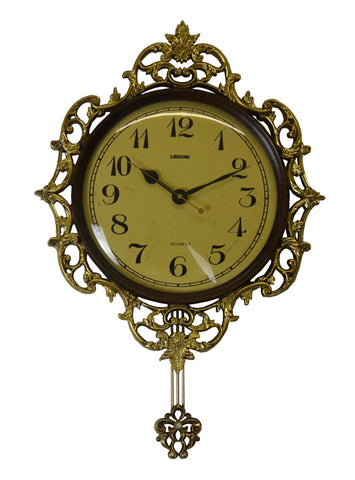 27X18 BRWN & GOLD WALL CLOCK W/ PENDULUM