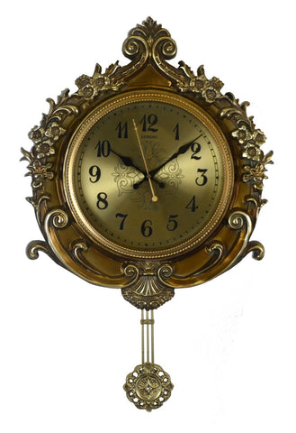 27X17 GOLD WALL CLOCK W/ PENDULUM