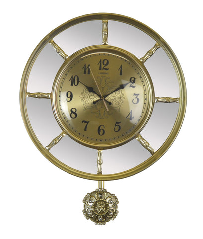 21X16 GOLD WALL CLOCK W/ MIRROR AND PENDULUM