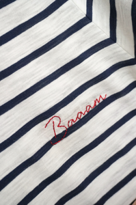 Personalized White Mariner Stripes T-shirt, Women size - Handmade Embroidery, red