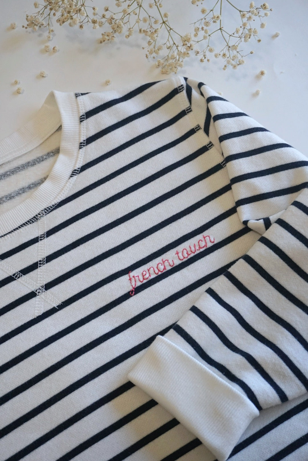 Personalized White Mariner Stripes Sweater, Women size - Handmade Embroidery, red