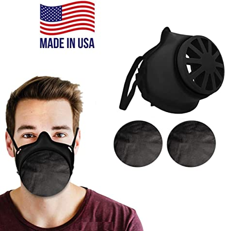Reusable Face Mask Cover – Made in USA - Comfortable Head Elastic (5 pcs) | 2 Polypropylene Washable Filters Included | Block Dust & Air Pollution
