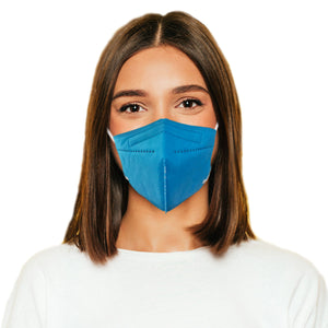 Woman in M95c blue mask