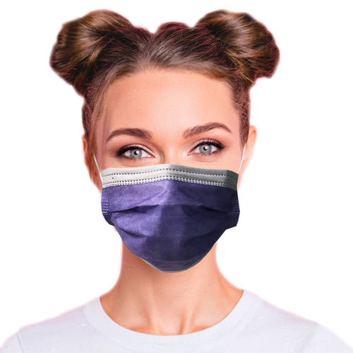Girl wearing 4ply lavender purple mask ASTM Level 3