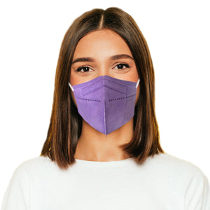 Woman in M95c purple mask
