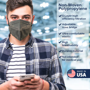 Made in USA, Adult 5-Layer M95i Travel Face Mask with Ultra High Filtration (5 Pack)
