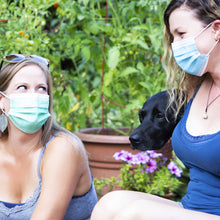 Load image into Gallery viewer, 2 girls in masks with dog