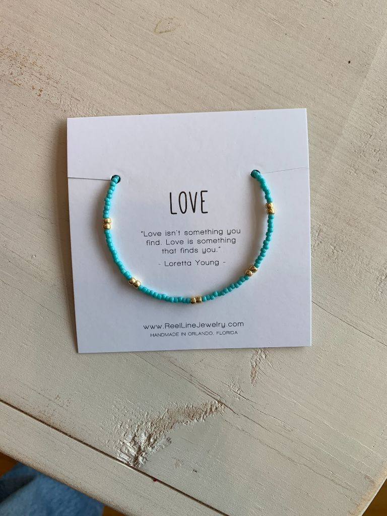 Boho Bracelets - Love  Turquoise Gloss by Reel Line Jewelry