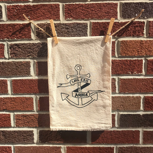 Lake Erie Anchor Tea Towel