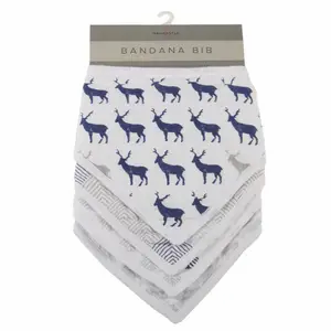 Blue Deer Bandana Bibs - Set of 4