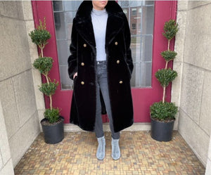 Double Breasted Black Faux Fur Coat