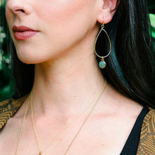 Load image into Gallery viewer, Crushed Turquoise Teardrop Dangle Earrings by Cameoko