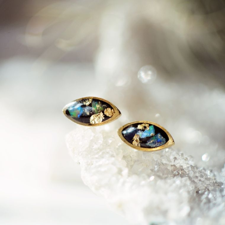 Opal Marquise Post Earring by Cameoko